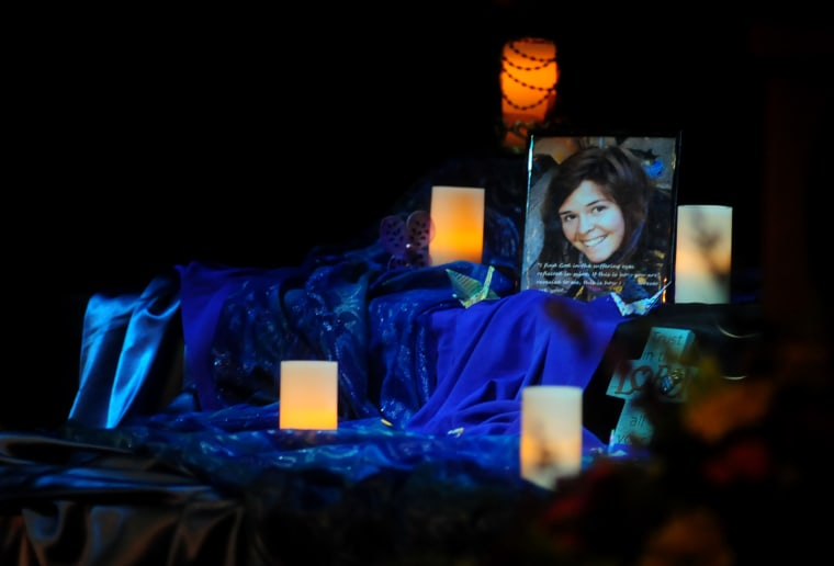 A memorial for Kayla Mueller in the Yavapai College Performance Hall, March 7, 2015 in Prescott, Ariz. (Photo by Les Stukenberg/The Daily Courier/AP)