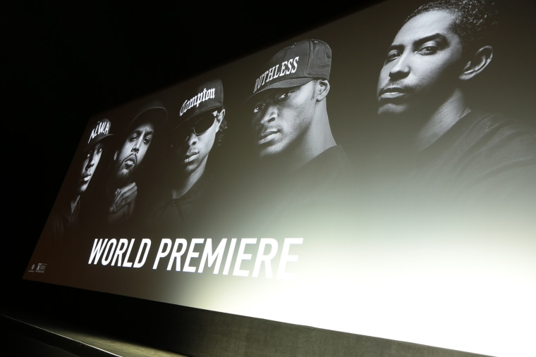 "A view as Universal presents the ""Straight Outta Compton"" World Premiere at the Microsoft Theatre L.A. Live on Aug. 10, 2015. (Photo by Alex J. Berliner/ABImages/AP)"