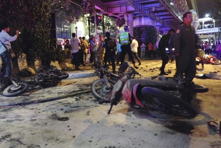 Motorcycles are strewn about after an explosion in Bangkok, Aug. 17, 2015. A large explosion rocked a central Bangkok intersection during the evening rush hour, killing a number of people and injuring others, police said.