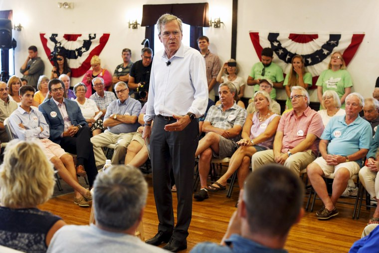 Former Florida Governor and Republican candidate for president Jeb Bush speaks at a VFW town hall event in Merrimack, N.H., Aug. 19, 2015. (Photo by Dominick Reuter/Reuters)