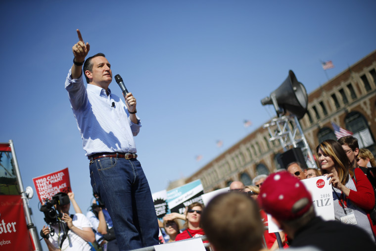 Republican presidential candidate Sen. Ted Cruz speaks at the Iowa State Fair on Aug. 21, 2015, in Des Moines, Iowa. (Photo by Paul Sancya/AP)