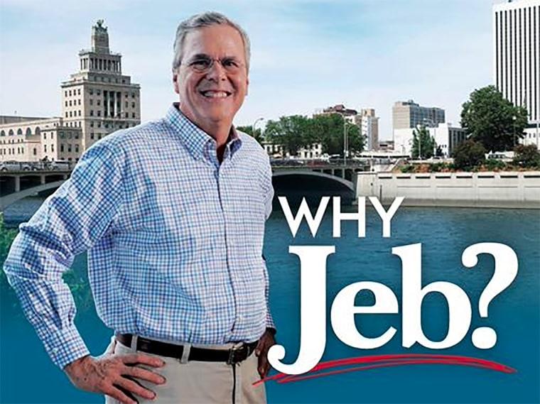 Jeb Bush promotional poster. (Screen grab courtesy of NBC)