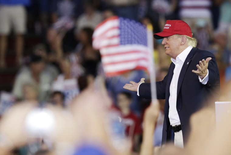 Republican presidential candidate Donald Trump speaks during a campaign pep rally, Aug. 21, 2015, in Mobile, Ala. (Photo by Brynn Anderson/AP)