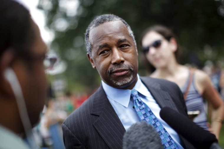 Republican presidential candidate Dr. Ben Carson talks to reporters after speaking at an event at Capitol Hill in Washington, D.C., July 28, 2015. (Photo by Carlos Barria/Reuters)