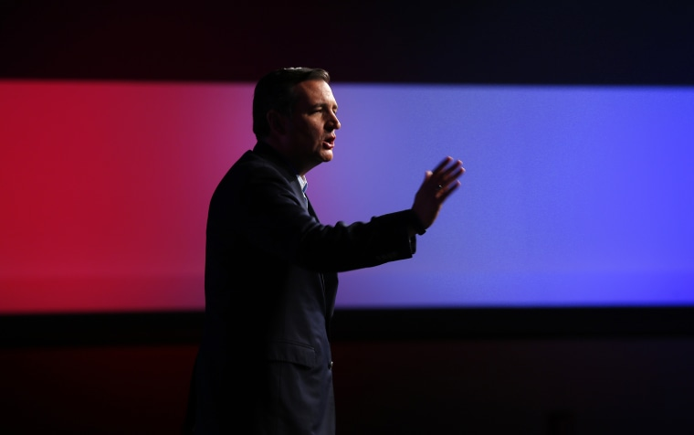"""Republican presidential candidate, Sen. Ted Cruz, R-Texas, speaks at a """"Rally for Religious Liberty"""", Aug. 21, 2015, in Des Moines, Ia. (Photo by Paul Sancya/AP)"""
