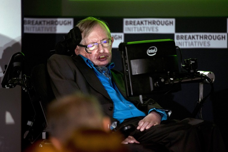 Renowned physicist Stephen Hawking attends a press conference in London, Monday, July 20, 2015. (Photo by Matt Dunham/AP)