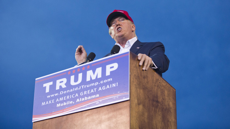 Republican presidential candidate Donald Trump speaks during a campaign rally in Mobile, Ala., on Friday, Aug. 21, 2015.  (Photo by Brynn Anderson/AP)