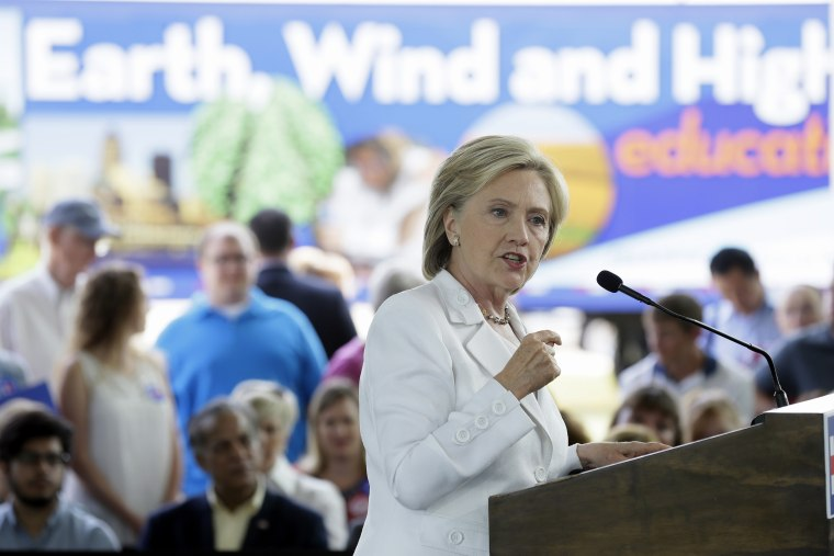 Democratic presidential candidate Hillary Rodham Clinton speaks about rural issues at the Des Moines Area Community College on Aug. 26, 2015, in Ankeny, Iowa. (Photo by Charlie Neibergall/AP)