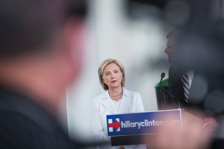 Democratic presidential candidate and former U.S. Secretary of State Hillary Clinton speaks to guests gathered for a campaign event on the campus of Des Moines Area Community College on Aug. 26, 2015 in Ankeny, Iowa. (Photo by Scott Olson/Getty)