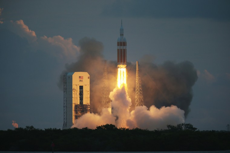 The United Launch Alliance Delta 4 rocket carrying NASA's first Orion deep space exploration craft takes off from its launchpad on Dec. 5, 2014 in Cape Canaveral, Fla. (Photo by Joe Raedle/Getty)