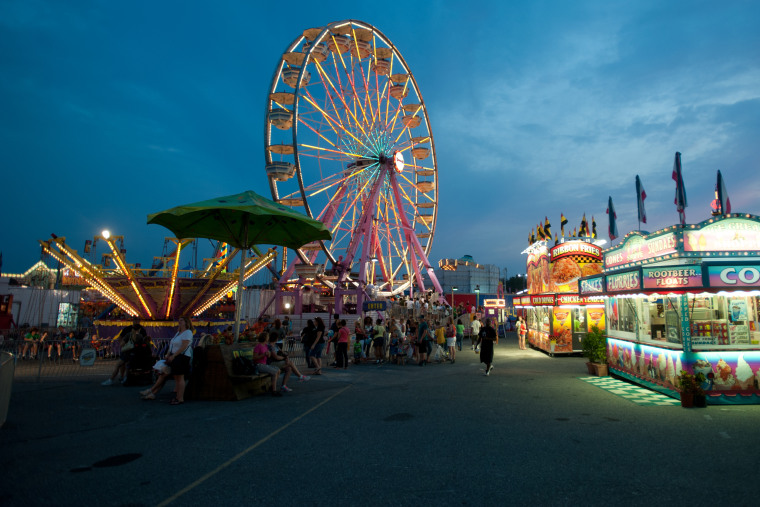 Amusement park rides at the Maryland State Fair in Timonium, Md. (Photo by Edwin Remsberg/VW Pics/Zuma)