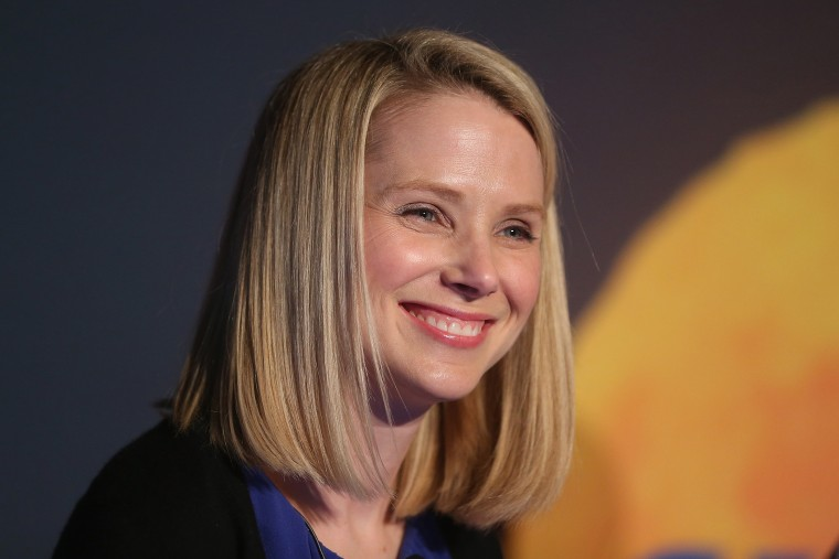 Yahoo! CEO Marissa Mayer attends a news conference following the company's acquisition of Tumblr at a press conference in Times Square on May 20, 2013 in New York City. (Photo by Mario Tama/Getty)