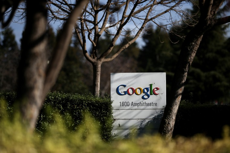 A sign is posted outside of Google headquarters on Jan. 30, 2014 in Mountain View, Calif. (Photo by Justin Sullivan/Getty)