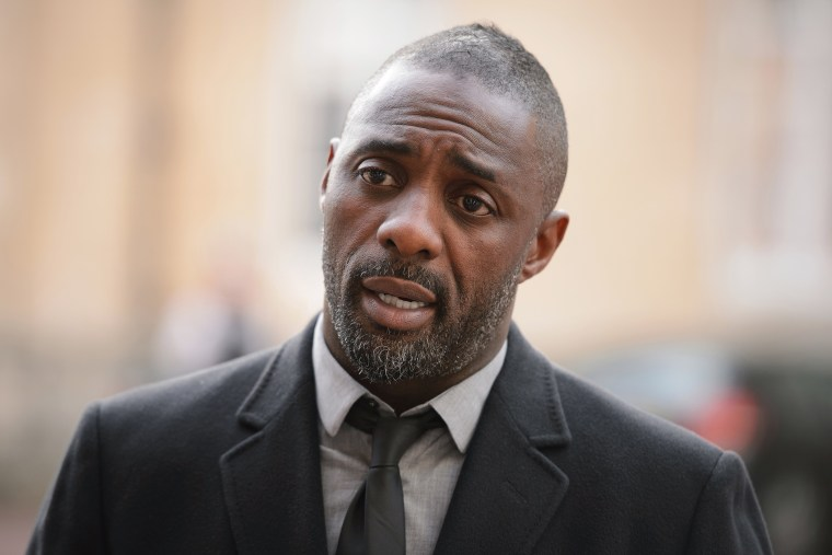 """British actor Idris Elba speaks to the media ahead of the \""""Defeating Ebola: Sierra Leone\"""" conference at Lancaster House on Oct. 2, 2014 in London, England. (Photo by Leon Neal/WPA Pool/Getty)"""