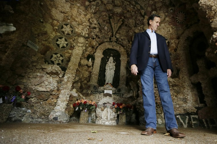Republican presidential candidate, former Pennsylvania Sen. Rick Santorum tours the Shrine of the Grotto of the Redemption, Sunday, Aug. 23, 2015, in West Bend, Iowa. (Photo by Charlie Neibergall/AP)