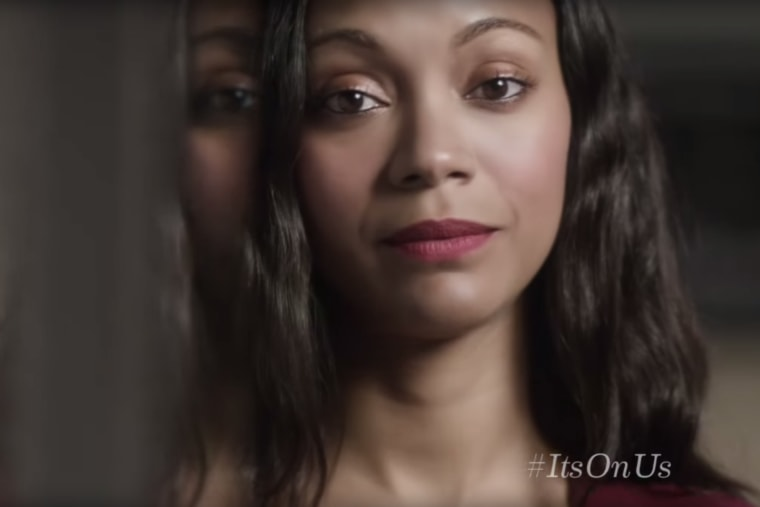 """Zoe Saldana and others are featured in the video """"It's On Us"""" released by the White House. (Photo by It's On Us/YouTube)"""