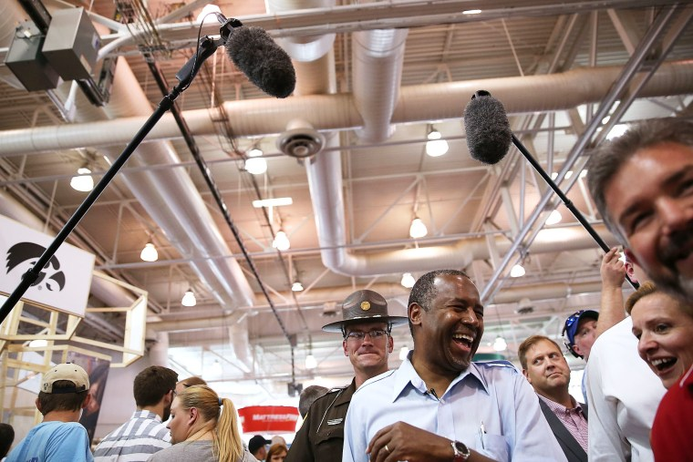 Republican presidential hopeful Ben Carson tours the Iowa State Fair on August 16, 2015 in Des Moines, Iowa. (Photo by Justin Sullivan/Getty)