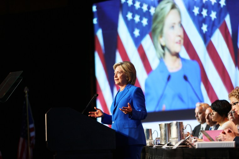 Democratic Presidential candidate Hillary Clinton speaks at the Democratic National Committee summer meeting on August 28, 2015 in Minneapolis, Minnesota. (Photo by Adam Bettcher/Getty)