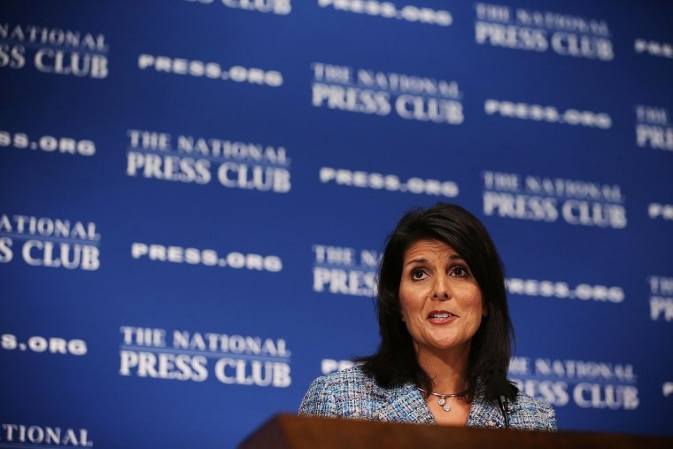 South Carolina Governor Nikki Haley addresses a Newsmaker Luncheon at the National Press Club September 2, 2015 in Washington, DC. (Photo by Alex Wong/Getty)