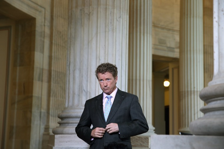 U.S. Sen. Rand Paul (R-KY) prepares to do a live interview with FOX News in the Russell Senate Office Building rotunda on Capitol Hill June 1, 2015 in Washington, DC. (Photo by Chip Somodevilla/Getty)