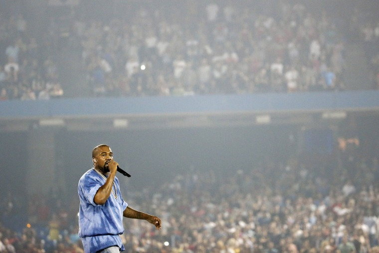 Kanye West performs during the closing ceremony of the Pan Am Games on July 26, 2015, in Toronto, Canada. (Photo by Julio Cortez/AP)