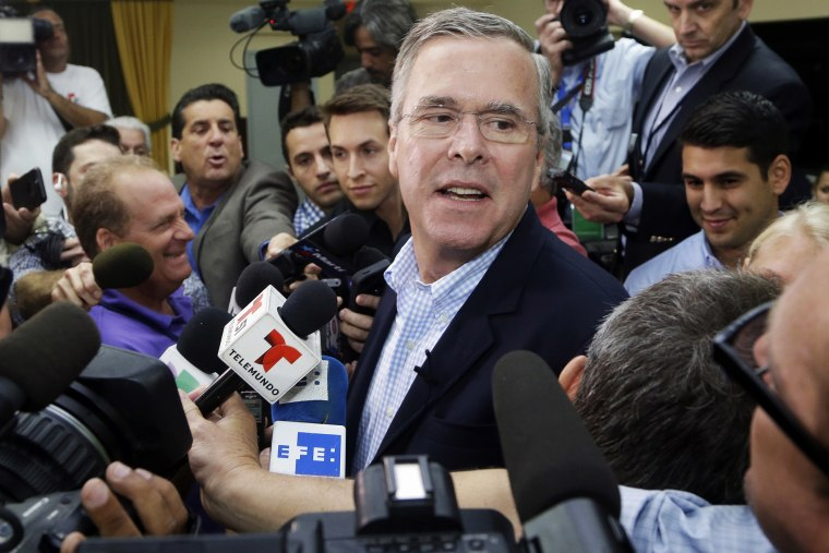Republican presidential candidate, former Florida Gov. Jeb Bush takes questions from the news media following a town hall at La Progresiva Presbyterian School, Tuesday, Sept. 1, 2015, in Miami. (Photo by Lynne Sladky/AP)
