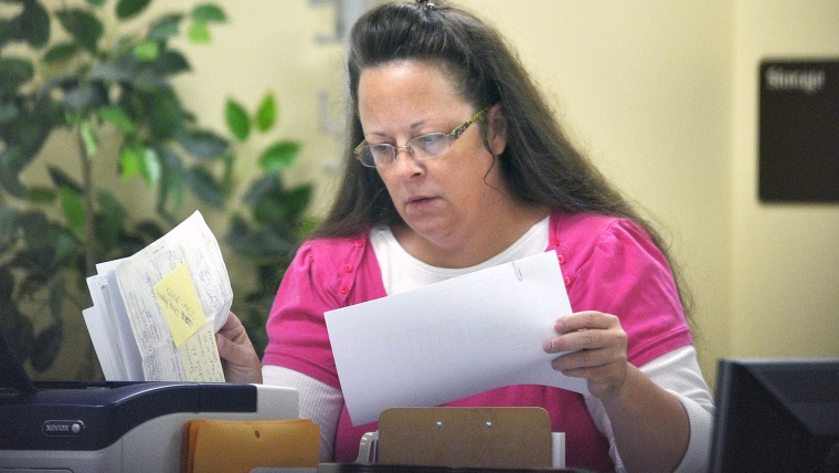 Former Rowan County Clerk Kim Davis at the Rowan County Courthouse in Morehead, Ky., Tuesday, Aug. 18, 2015. (Photo by Timothy D. Easley/AP)