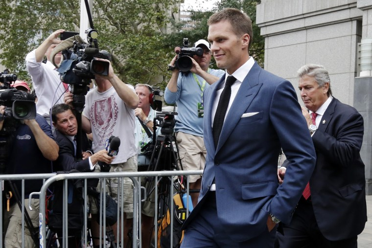 In this April 31, 2015 file photo, New England Patriots quarterback Tom Brady leaves Federal court in New York. (Photo by Richard Drew/AP)