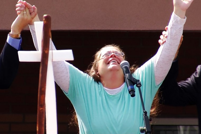 Rowan County clerk Kim Davis celebrates after being released from the Carter County Detention Center, Tuesday, Sept. 8, 2015, in Grayson, Ky.