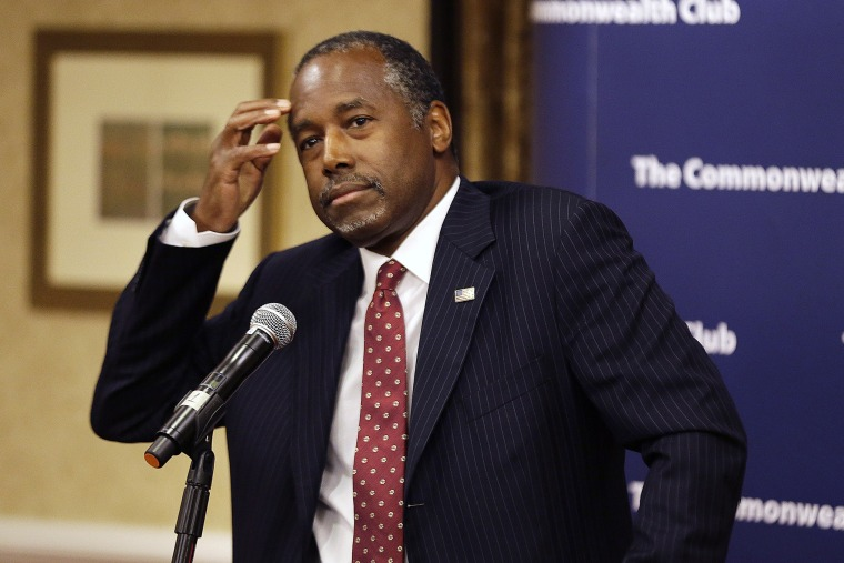 Republican presidential candidate retired neurosurgeon Ben Carson answers questions at the Commonwealth Club public affairs forum Tuesday, Sept. 8, 2015, in San Francisco. (Photo by Eric Risberg/AP)