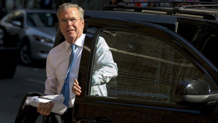 """Republican presidential candidate Jeb Bush arrives for an appearance on """"The Late Show with Stephen Colbert"""" at the Ed Sullivan Theater in Manhattan, New York, September 8, 2015. (Photo by Brendan McDermid/Reuters)"""