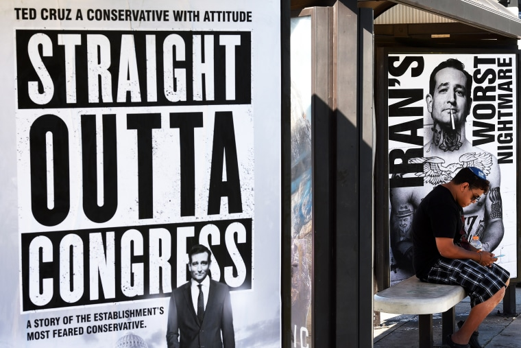 Posters supporting politician Ted Cruz are displayed in Los Angeles, California on July 26, 2015. (Photo by Mark Ralston/AFP/Getty)