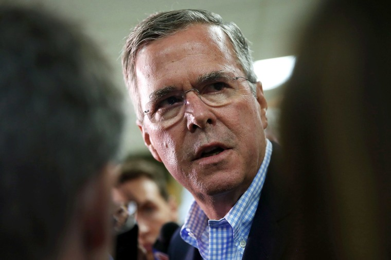 Republican presidential candidate and former Florida Gov. Jeb Bush speaks to the media after holding a town hall style meeting at La Progresiva Presbyterian School on September 1, 2015 in Miami, Florida. (Photo by Joe Raedle/Getty)
