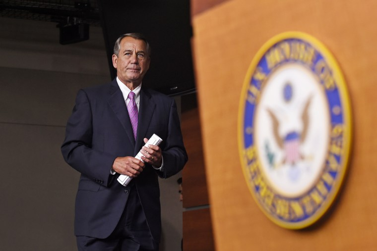 House Speaker John Boehner of Ohio arrives for a news conference on Capitol Hill in Washington DC on July 29, 2015. (Photo by Susan Walsh/AP)