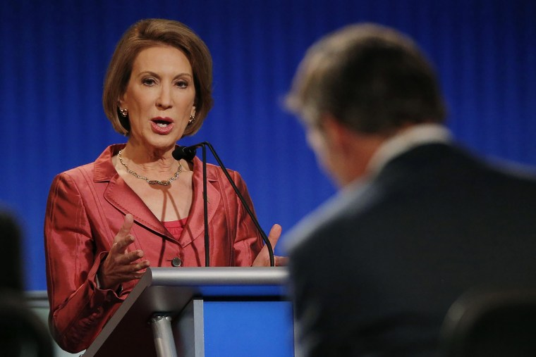 Republican presidential candidate and former Hewlett-Packard CEO Carly Fiorina responds to a question at a Fox-sponsored forum in Cleveland, Ohio, August 6, 2015. (Photo by Brian Snyder/Reuters)