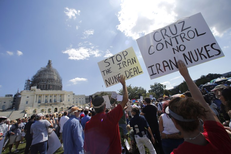 "Activists gather at a Capitol Hill rally to ""Stop the Iran Nuclear Deal"" in Washington on Sept. 9, 2015. (Photo by Jonathan Ernst/Reuters)"
