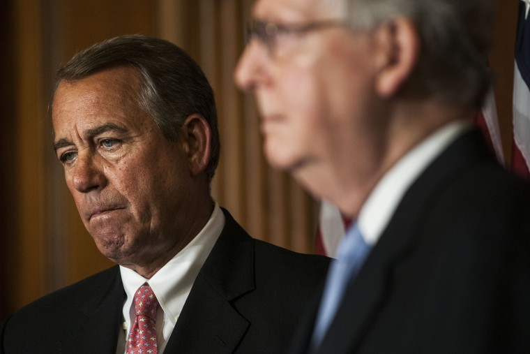 House Speaker John Boehner and Senate Majority Leader Mitch McConnell on April 16, 2015 in Washington, D.C. (Photo by Gabriella Demczuk/Getty)