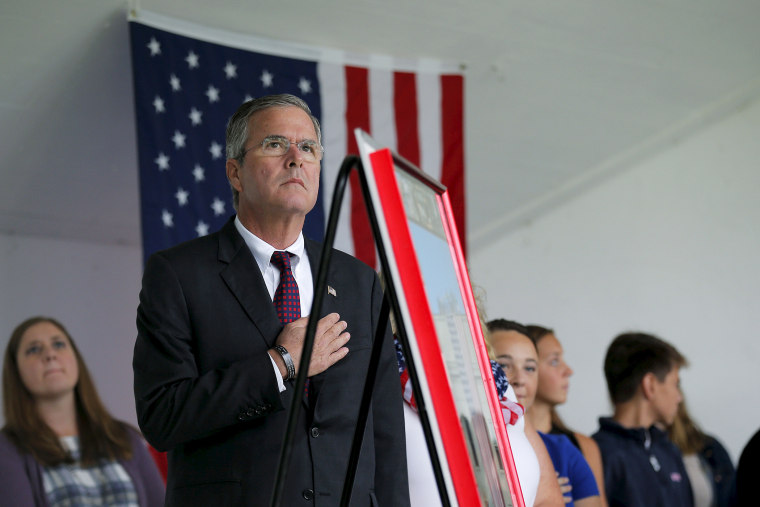 U.S. Republican presidential candidate Jeb Bush takes part in ceremonies to remember the victims of the Sept. 11, 2001 attacks in Londonderry, N.H. on Sept. 11, 2015. (Photo by Brian Snyder/Reuters)