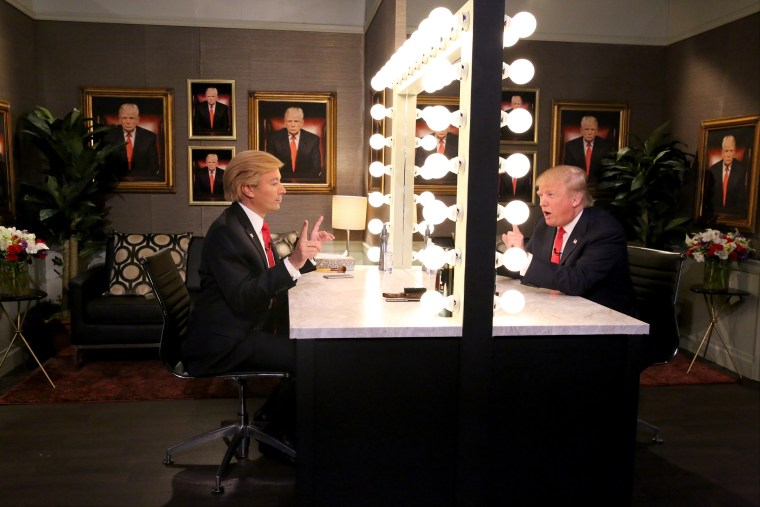 Donald Trump is mirrored by Jimmy Fallon on The Tonight Show Starring Jimmy Fallon, Sept. 11, 2015. (Photo by Douglas Gorenstein/NBC)