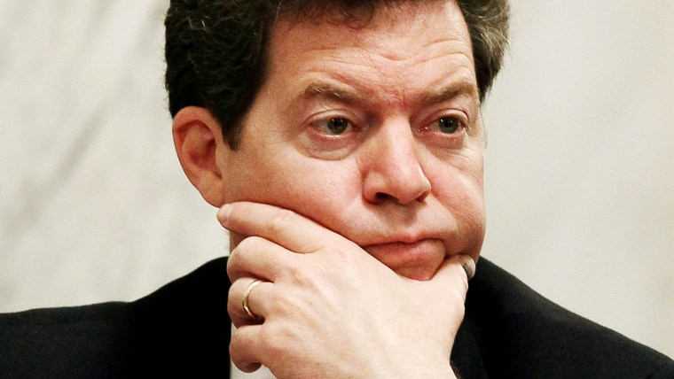 Sen. Sam Brownback, listens during a Senate Energy and Natural Resources Committee hearing on Capitol Hill on May 18, 2010 in Washington, DC. (Photo by Mark Wilson/Getty)