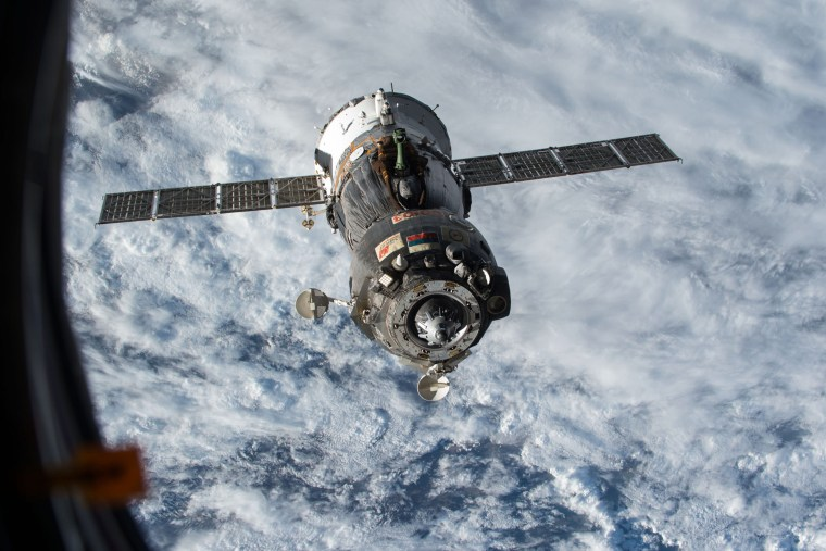 Pictured: the previous returning spacecraft, Soyuz TMA-15M, after undocking from the International Space Station on June 11, 2015. (Photo by NASA)