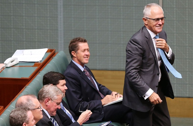 Then Minister for Communications Malcolm Turnbull gets up to speak during House of Representatives question time at Parliament House on Feb. 10, 2015 in Canberra, Australia. (Photo by Stefan Postles/Getty)