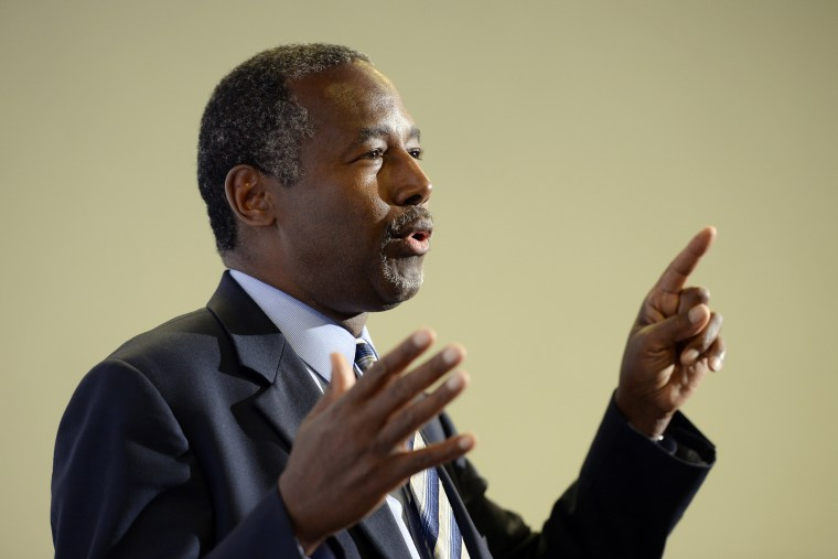 Republican presidential candidate Ben Carson speaks during new conference before a campaign rally at the Anaheim Convention Center Sept. 9, 2015 in Anaheim, Calif. (Photo by Kevork Djansezian/Getty)