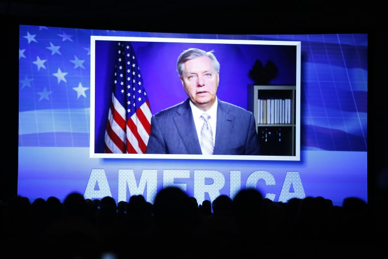 U.S. Sen. Lindsey Graham speaks to the Southern Republican Leadership Conference in Oklahoma City, Friday, May 22, 2015, via video teleconference from Washington. (Photo by Alonzo Adams/AP)