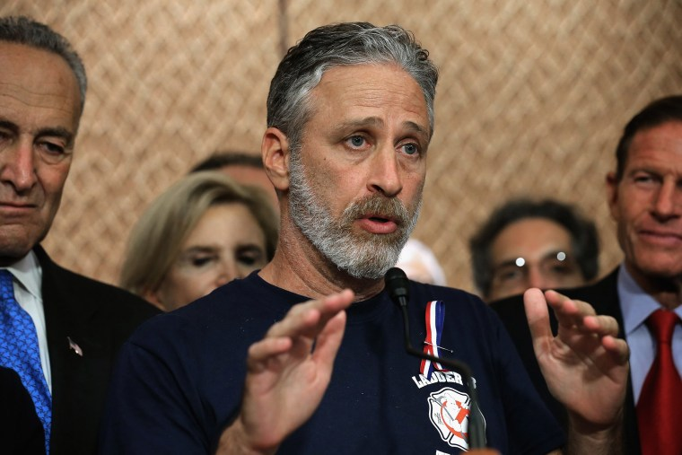 Comedian Jon Stewart speaks during a news conference to demand an extension of the Zadroga 9/11 health bill at the U.S. Capitol on Sept. 16, 2015. (Photo by Chip Somodevilla/Getty)