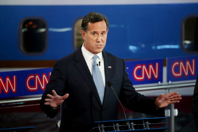 Republican presidential candidate Rick Santorum take part in the presidential debates at the Reagan Library on Sept. 16, 2015 in Simi Valley, Calif. (Photo by Justin Sullivan/Getty)