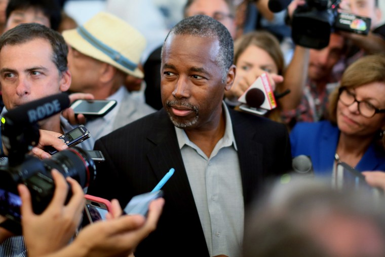 Republican candidate Ben Carson speaks to reporters before the start of the Republican Presidential Debates at the Reagan Library on Sept. 16, 2015 in Simi Valley, Calif. (Photo by Sandy Huffaker/Getty)