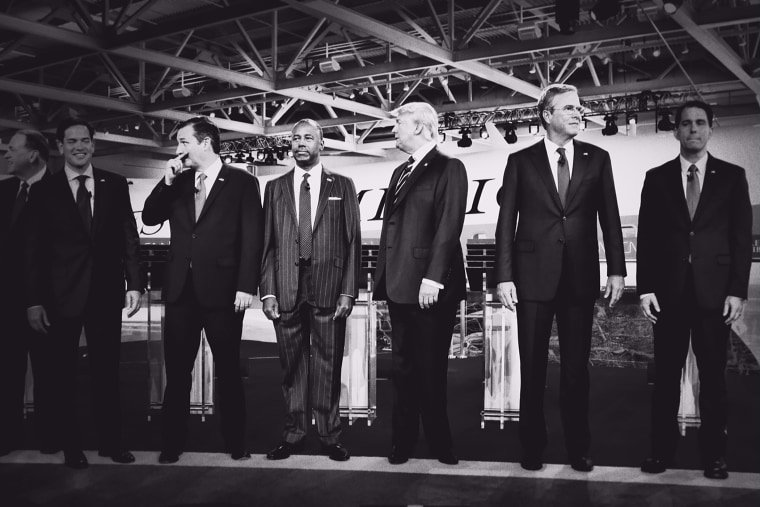 Republican presidential candidates line up for a photo op before the CNN Republican Debate begins at the Ronald Reagan Presidential Library and Museum, Sept. 16, 2015, in Simi Valley, Calif. (Photo by Mark Peterson/Redux for MSNBC)
