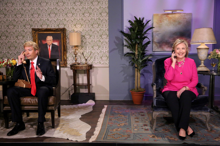 """Jimmy Fallon as Donald Trump and Hillary Rodham Clinton during the """"Trump calls Hillary"""" skit on Sept. 16, 2015. (Photo by Douglas Gorenstein/NBC)"""