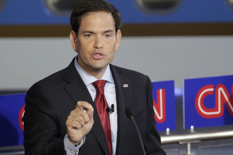 Republican presidential candidates Marco Rubio participates in the second GOP Presidential candidates debate at the Ronald Reagan Presidential Library in Simi Valley, Calif. on Sept. 16, 2015. (Photo by Max Whittaker/Pool/EPA)